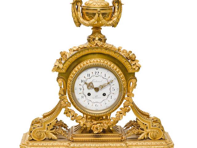A Louis XVI style gilt bronze clock 19th century