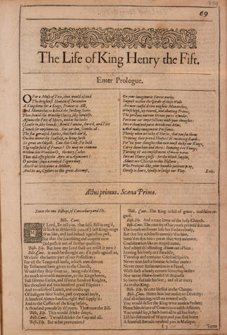 SHAKESPEARE, WILLIAM. 1564-1616. The Life of King Henry the Fifth; The First Part of King Henry the Sixth; The Second Part of King Henry the Sixth; The Third Part of King Henry the Sixth. [London: Printed by Thomas Cotes, 1632.]