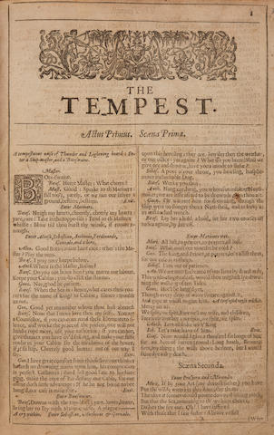 SHAKESPEARE, WILLIAM. 1564-1616. The Tempest; The Two Gentlemen of Verona. [London: Printed by Thomas Cotes, 1632.]