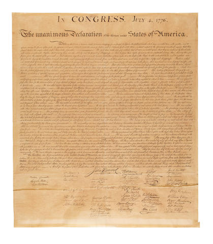 DECLARATION OF INDEPENDENCE. In Congress, July 4, 1776. The Unanimous Declaration of the Thirteen United States of America. When in the Course of Human Events....  [Washington, D.C.: engraved by William J. Stone for Peter Force, after 1833.]