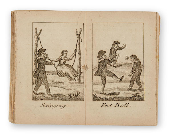 """FIRST PICTURE OF """"FOOT BALL"""" PRINTED IN AMERICA. Youthful Recreations. Philadelphia: J. Johnson, [1802]."""