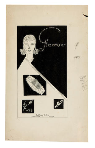 "TIFFANY AND CO. Original ink drawing, an advertisement for Tiffany & Co. headed ""Glamour"" in art deco lettering,"