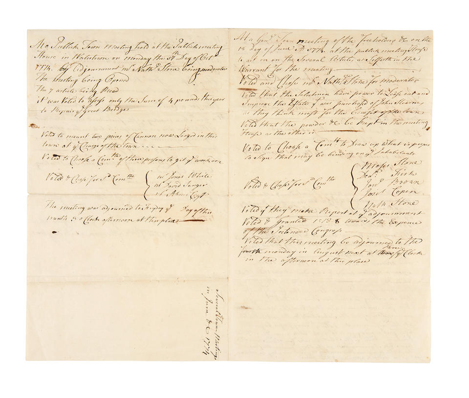 PREPARATION FOR REVOLUTION: MANUSCRIPT TOWN COUNCIL MEETING NOTES, 1774. Autograph Manuscript in an unknown hand, minutes of town meetings from June to October, 1774, 4 pp, folio (conjoining leaves, each 300 x 180 mm), Watertown, CT, June 18 to October 17, 1774,