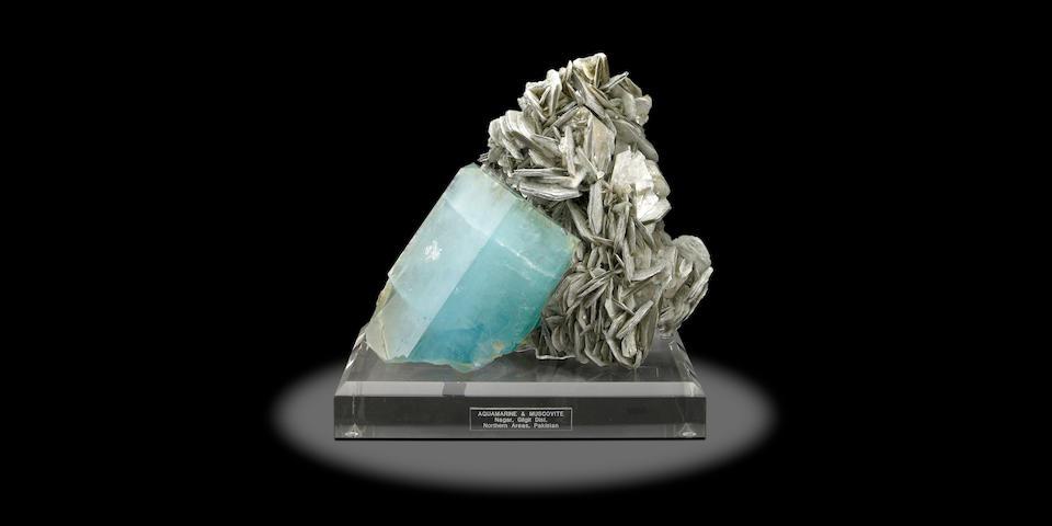 Important Beryl var. Aquamarine and Muscovite