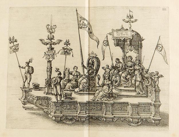 Francois, duc d'Anjou. La Joyeuse & magnifique Entrée de Monseigneur Françoys, fils de France.  Antwerp: Christophle Plantin, 1582.