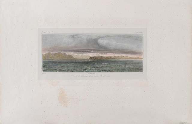 EARLY VIEW OF SAN FRANCISCO BAY. SABATIER, LEON JEAN BAPTISTE. D.1887. Vue de l'entrée de la Baie de San Francisco. Paris: Printed by Thierry Freres, [1841].