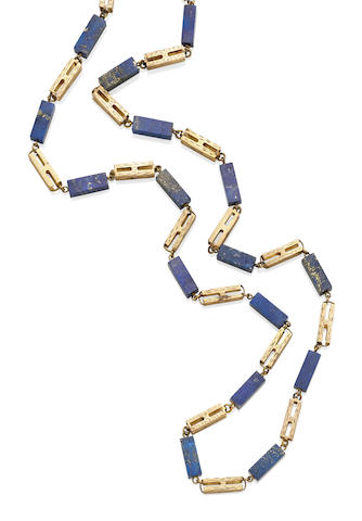 A lapis lazuli and gold necklace,