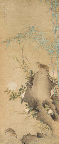 Anonymous  Bamboo, Quail, and Peony