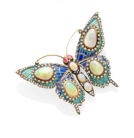 An opal, diamond, ruby, Plique-à-jour, silver and 18k gold butterfly brooch