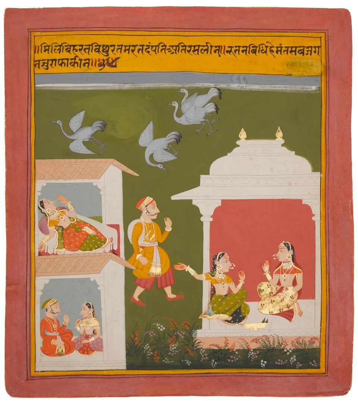 An illustration to a Bihari Sat Sai series: a lover leaves his mistress after a quarrel Mewar, circa 1719