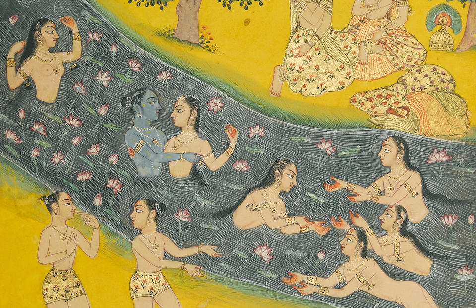 An illustration from a Rasikapriya series: Krishna and the gopis in the Yamuna River Bikaner, circa 1680
