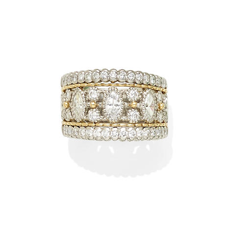 A diamond, 18k gold and platinum ring
