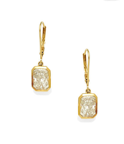 A pair of diamond and 14k gold ear pendants