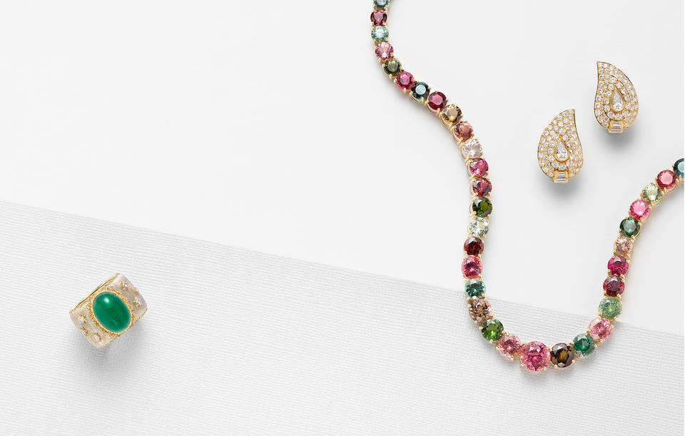 A multi-color tourmaline and 14K gold riviere, Ben Kho