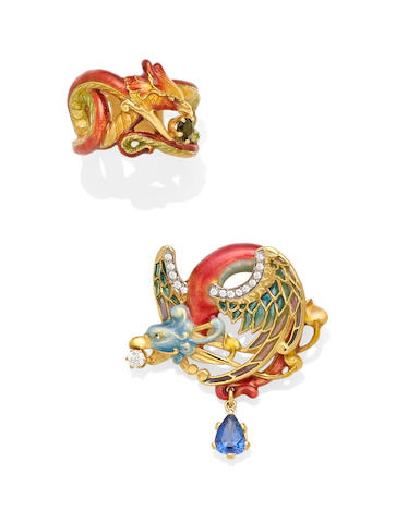 A sapphire, diamond, Plique-à-jour enamel and gold dragon brooch together with a tourmaline, enamel and gold ring, Masriera