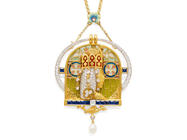A Plique-à-jour enamel, diamond, sapphire and 18k gold brooch/pendant necklace, Masriera