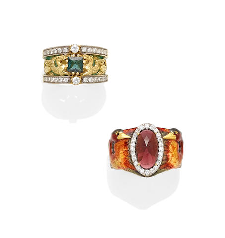 A tourmaline, diamond, Plique-à-jour enamel and 18k gold griffon ring together with an enamel, garnet, diamond and 18k gold ring, Masriera