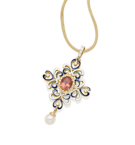 A pink tourmaline, cultured pearl, diamond, enamel and 18k gold pendant on chain