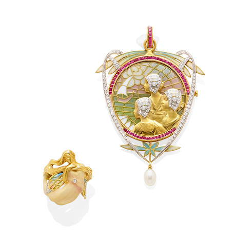 A Plique-à-jour, enamel, diamond, ruby and 18k gold brooch/pendant with a Plique-à-jour, enamel, diamond and 18k gold ring, Masriera