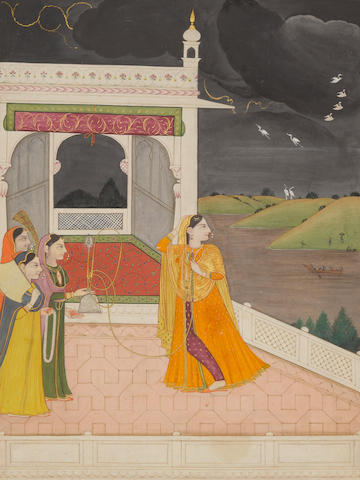 An illustration from a Baramasa series: maidens enjoying the arrival of the monsoon on a palace terrace Kangra, circa 1810-20