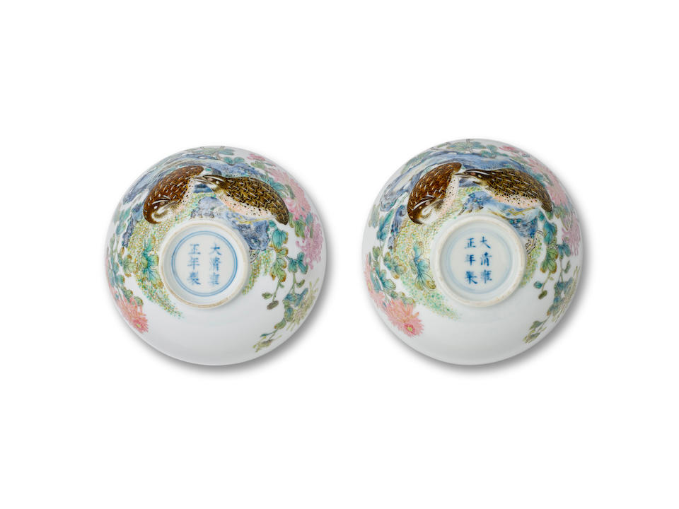 An exceptionally rare pair of Imperial famille rose 'quails and chrysanthemums' bowls  Yongzheng six-character marks and of the period (4)
