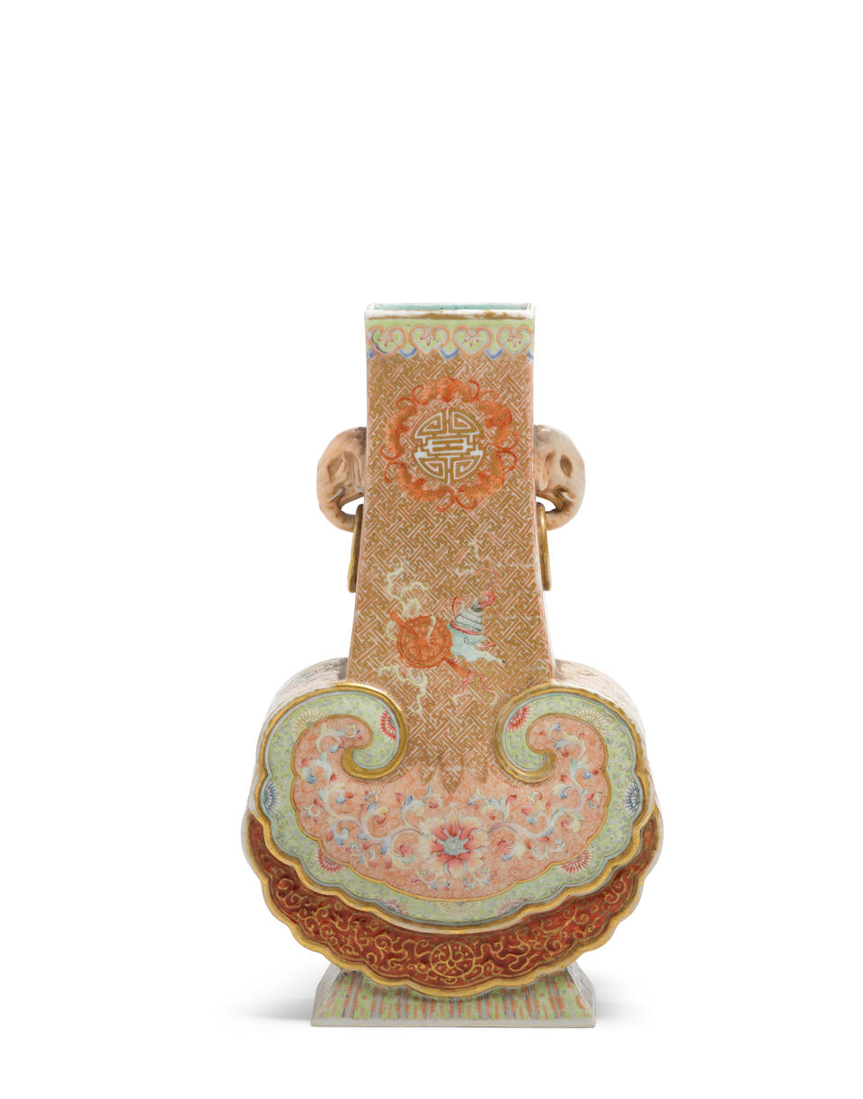 A famille rose and gilt 'ruyi' vase Qianlong mark, 19th century