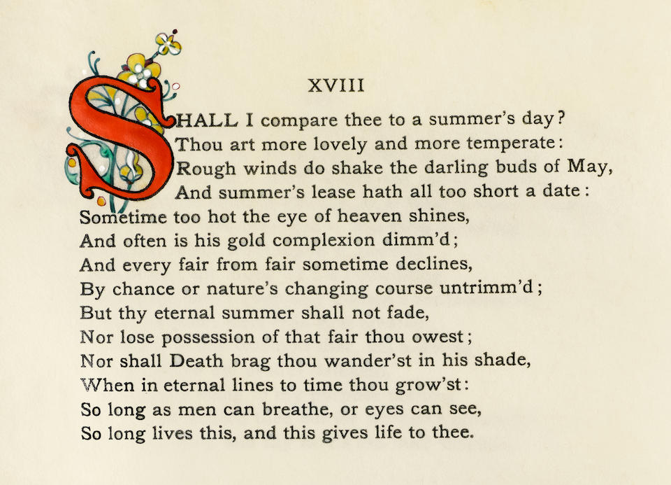 SHAKESPEARE, WILLIAM. 1564-1616. Shakespeare's Sonnets in Two Parts. [New York]: George D. Sproul, 1901.