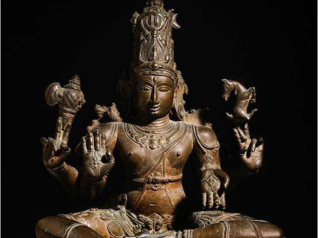 A COPPER ALLOY FIGURE OF SHIVA SUKHASANAMURTI SOUTH INDIA, VIJAYANAGARA PERIOD, 15TH/16TH CENTURY