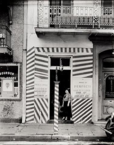 Walker Evans (1903-1975); Sidewalk and Storefront (Barber's Shop), New Orleans;