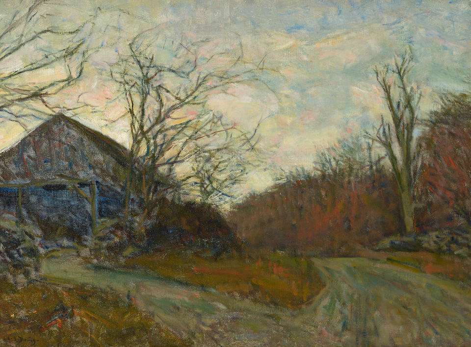 Charles Harold Davis (1856-1933) Below the Hill; The Turn of the Road, Twilight (a group of two) Hill 17 x 21in; Twilight 20 x 27in