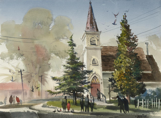 Jade Fon (1911-1983) Brentwood Church; Mendocino Church (a group of two) each 22 x 30in