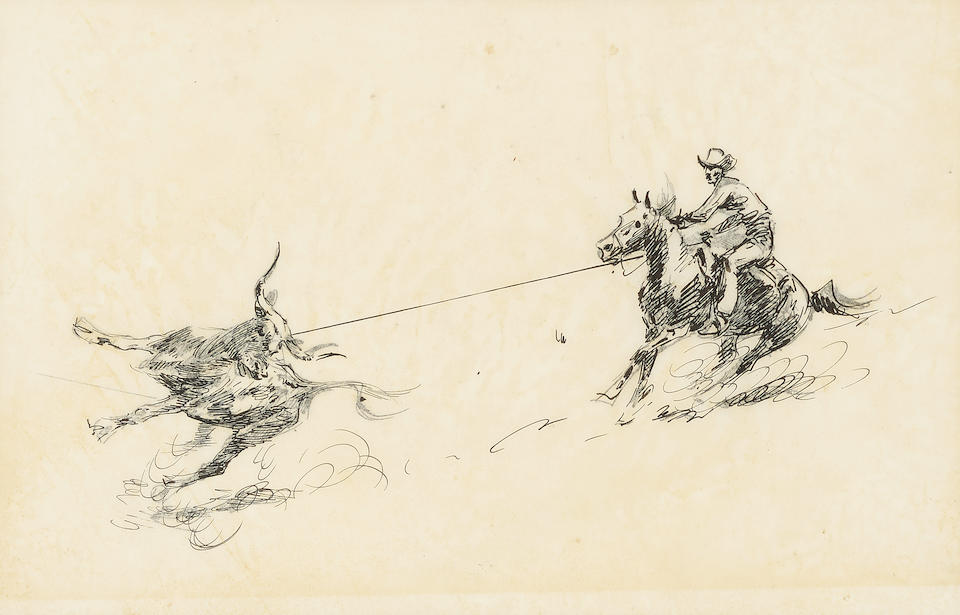 Edward Borein (1872-1945) Four Cowboys; Studies of Six Mounted Cowboys; and Roping a Steer (a group of three) sight sizes to 7 5/8 x 13 1/2in
