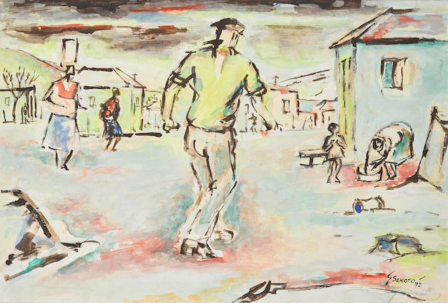 Gerard Sekoto (South African, 1913-1993) Township Scene