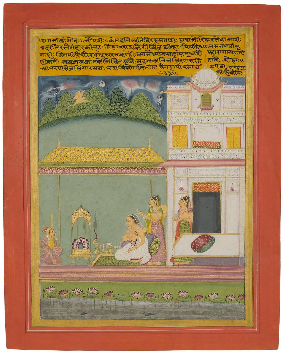 An illustration from a ragamala series: Kamod ragini Jaipur, circa 1750
