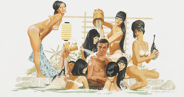 A Robert McGinnis original painting of the poster art for You Only Live Twice