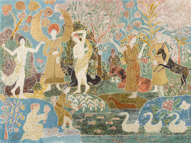 Charles E. Prendergast (1863-1948) Fantasy 23 x 31in (Executed circa 1916-18.)