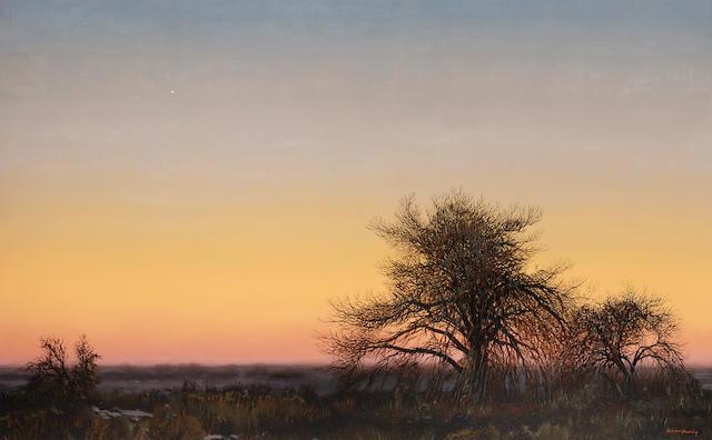 Wilson Hurley (1924-2008) Cottonwoods at Dusk 30 x 48in