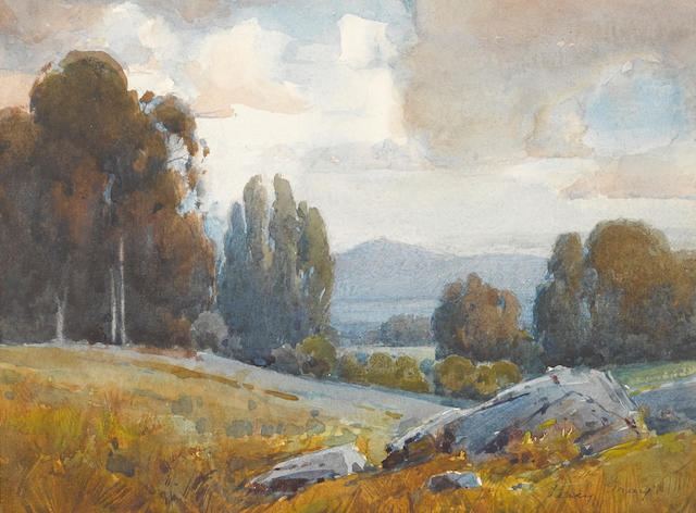 Percy Gray (1869-1952) Mt. Diablo from Burlingame sight 7 1/8 x 9 1/2in