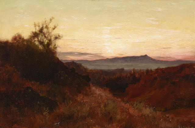 Joseph Henry Sharp (1859-1953) Landscape at dusk 20 x 30in (Painted in 1908. )