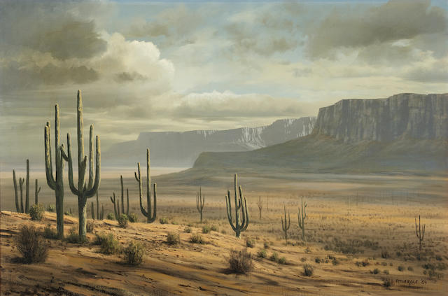 James A. Fetherolf (1925-1994) Desert landscape 24 x 36in (Painted in 1964.)