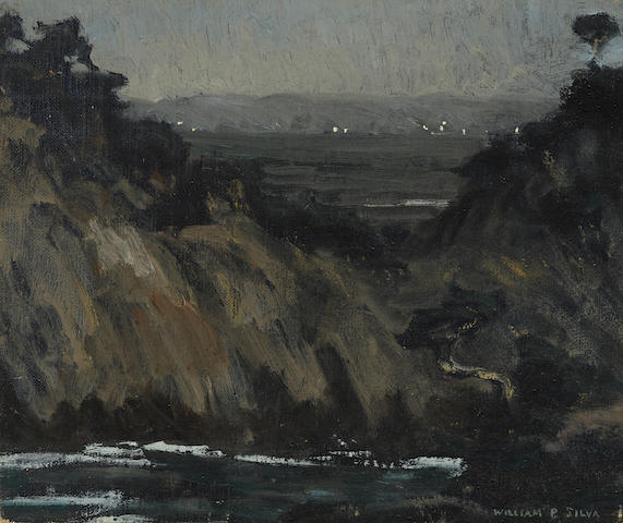 William Posey Silva (1859-1948) Night, Point Lobos 10 x 12in