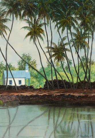 Lloyd Sexton, Jr. (1912-1990) Church in Kona 20 x 14 1/4in (Painted in 1959.)