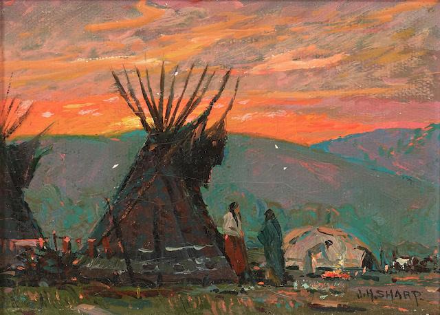 Joseph Henry Sharp (1859-1953) Indian Encampment at Sunset 5 x 7in