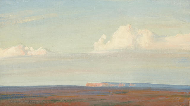 Maynard Dixon (1875-1946) Navajo Land, Southwest of Chinle (Arizona) 8 x 14in (Painted in 1915.)