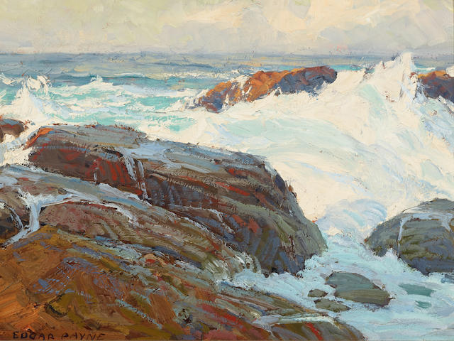 Edgar Payne (1883-1947) Surf at Laguna Beach (Wave Beaten Rocks) 12 x 16in