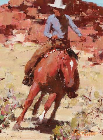 Burt Procter (1901-1980) Cowboy on horseback 16 x 12in