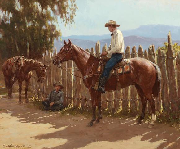 Olaf Carl Wieghorst (1899-1988) Cow Talk 20 x 24in