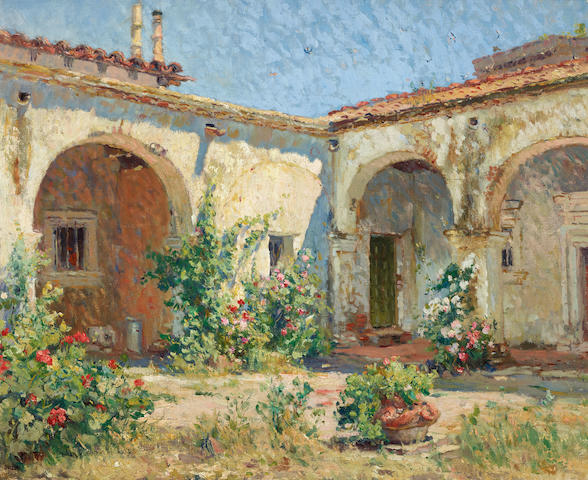 Colin Campbell Cooper (1856-1937) Mission Courtyard (San Juan Capistrano) 18 x 21 1/2in (Painted circa 1916.)