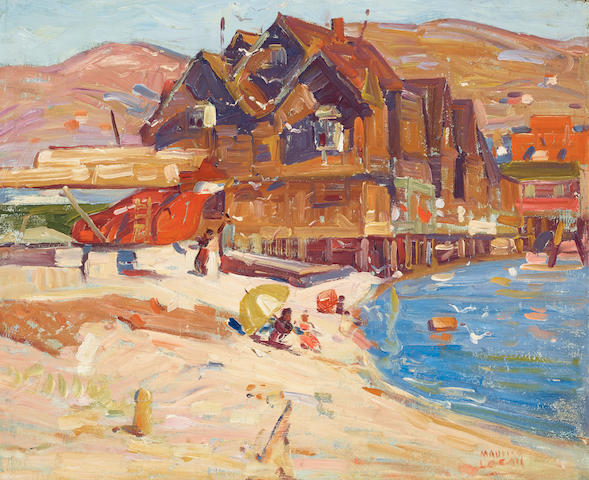 Maurice Logan (1886-1977) Houses and beachgoers along Belvedere Cove 19 1/4 x 23 1/2in
