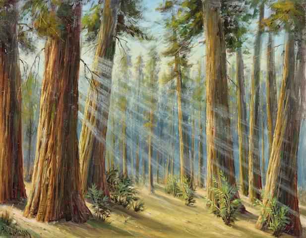 Paul Grimm (1891-1974) Redwoods 28 x 36in (Painted in 1971.)